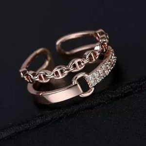 Rose Gold Adjustable Double Ring